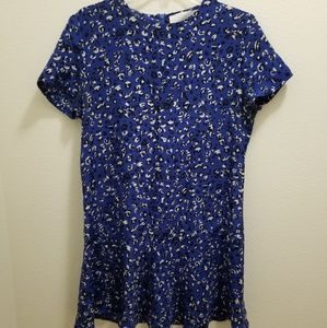 AMOUR VERT Blue Floral Mini Silk Dress
